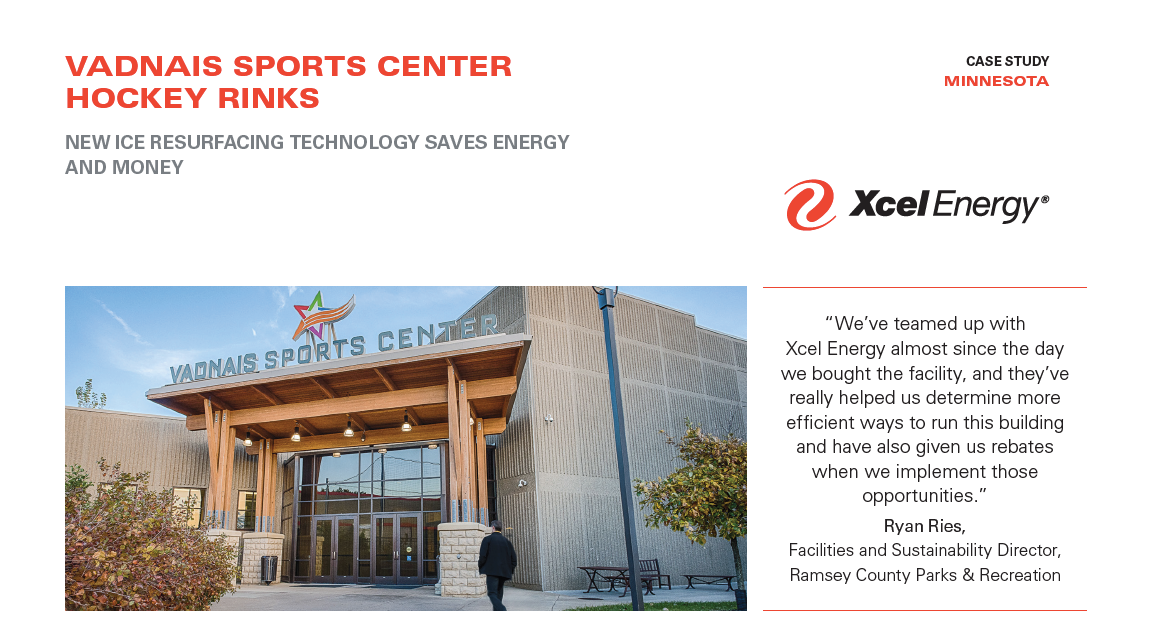 Xcel Energy case study on Vadnais Sport Center's REALice installation