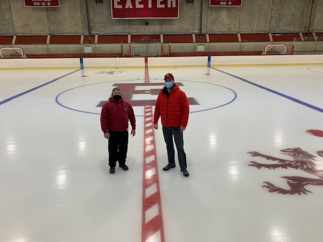 On the ice at the Phillips Exeter Academy Rink.